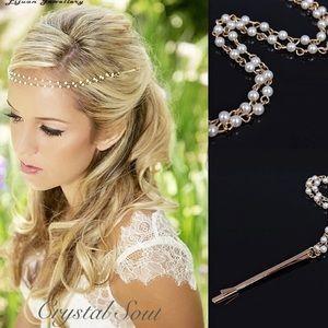 ❤️1PC Wedding Bridal Pearl Boho Hair chain